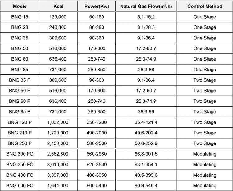 Tabel Industrial Gas Burner